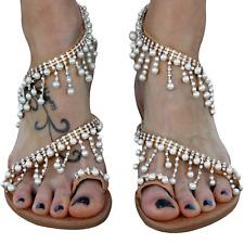 XMWEALTHY Women's Strappy Flat Sandals Bohemia Jeweled Toe Ring Gladiator Roman