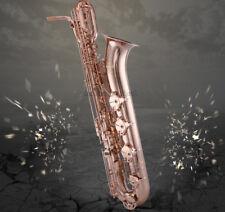 Rose Gold Plated TaiShan Baritone Eb Saxophone Low A SAX 2 Necks Leather Case
