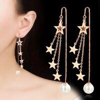 ANENJERY Sterne Quaste Ohrringe Kette 925 Sterling Silber Simulierte Perle