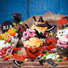 48X Halloween Cupcake Toppers Pumpkin Bat Ghost Skull Food Picks Party Decor