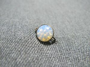 Antique iridescent milky molded glass cab goldtone metal round small pin brooch