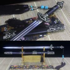 Handmade Double Bo-Hi Damascus Steel Blade Chinese Sword Jian Rosewood Scabbard