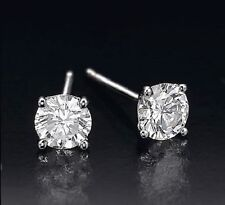 0.50 CT ROUND CUT 14K WHITE GOLD G SI1 NETURAL DIAMOND STUD EARRINGS cts carat