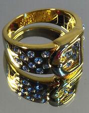 "Beautiful ""Belt Buckle"" Design Ladies Gold Ring 24x Quality Swarovski stones NEW"