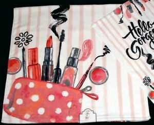 Kassafina Chic Hello Gorgeous Makeup Striped Decorative Velour Bath Towel NWT