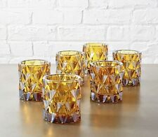 CB2 Amber BETTY Votive Tea LIGHT CANDLE HOLDERS Brown Set of 6