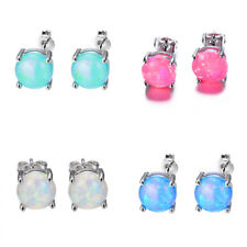 Pair 925 Sterling Silver Four-Claw Opal Stone Ear Studs Earrings Fashion Jewelry