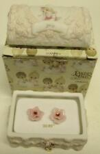 1997 July Precious Moments HOPECHEST WITH EARRINGS Treasure Chest RUBY