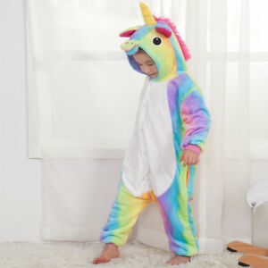 Rainbow Unicorn Kids Kigurumi Animal Cosplay Costume Onesie01 Pajamas Sleepwear