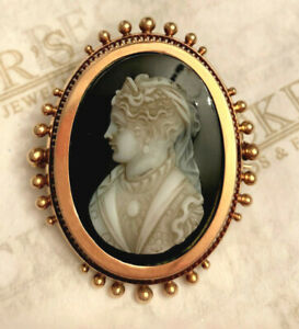 Victorian 10k rose gold Black & White Cameo Mourning Pin & Glass Back for Hair