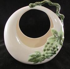 Tokay Moon Vase #11 Green Grapes W/ Twig Handle Hull Pottery USA Round Basket
