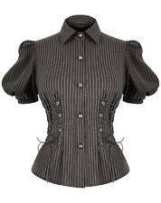 Devil Fashion Womens Steampunk Blouse Top Black Brown Stripe VTG Victorian Shirt