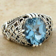 Style Filigree Ring Size 10, #958 Genuine Blue Topaz 925 Sterling Silver Antique