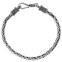 3MM BYZANTINE BALI SOLID 925 STERLING SILVER CHAIN ANKLET bracelet, 6-10""