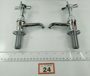 Vintage Retro Armitage Shanks Selbourne Bathroom Pillar Taps Chrome Plated #24