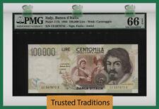 TT PK 117b 1994 ITALY BANCA D'ITALIA 100000 LIRE CARAVAGGIO PMG 66 EPQ GEM UNC!