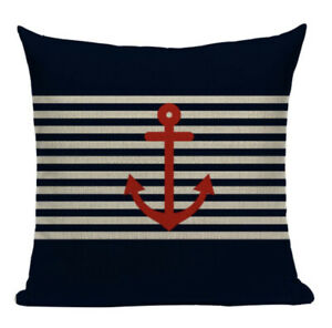 Red Striped Anchor Cushion Cover, nautical, seaside, indoor, outdoor, navy blue