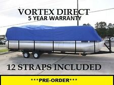NEW VORTEX BLUE 28 FT Foot Ultra Pontoon Boat Cover w/Elastic Seam and Tie Downs