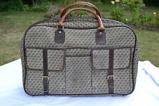 Vintage Jaeger monogrammed fabric and leather suitcase 1970s brown