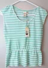 New $68 Sophie Max Studio Small Mint Green/White Jersey Peplum Sleeveless Top