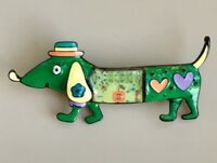 Adorable vintage  style Dachshund dog brooch in enamel on metal