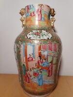 Vase chinois ancien porcelaine Canton Chine fin 19 siècle décor personnage