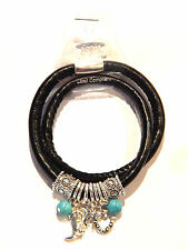 NWT DOUBLE BLACK LEATHER BRACELET W/ SILVER SOUTHWESTERN CHARMS, TURQUOISE BEADS