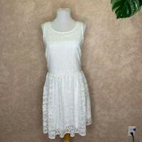 SUNDANCE CATALOG Dress White Lace Mesh Eyelet Sleeveless A Line Size 4