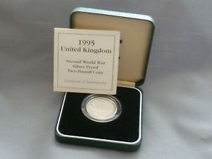 Boxed Royal Mint Silver Proof 1995 Second World War Dove of Peace £2 Coin