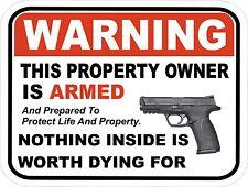 "Gun Pistol Warning Home Business Aluminum Security Sign  9"" x 12"" New"