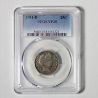 1911 D Barber Quarter PCGS VF25 ***Rev Tye's Coin Stache*** #1224250
