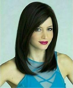 100% Human Hair New Fashion Beautiful Women's Medium Black Straight Full Wigs