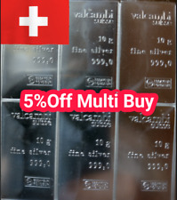 More details for 10 gram silver bar - pure 999 bullion - valcambi swiss made not scrap
