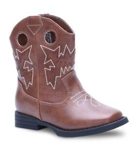 Wonder Nation Infant Toddler Boys Brown Pull-on Western Cowboy Boots Shoes: 2-11