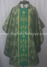NEW Green Metallic Gothic Vestment and stole set with IHS Embroidery, Casula