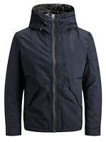 JACK & JONES New Hooded Pranker Jacket Mens Padded Casual Dark Navy Coat