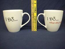 "set of 2 N.O.S. Pfaltzgraff china ""I Do"" coffee tea cup mugs wedding bride groom"
