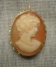 Vintage 1960's Italian Carved Shell Lady Cameo & 14K Yellow Gold Brooch Pendant