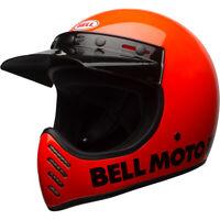 Bell Moto-3 Retro Full Face Motorcycle Helmet Gloss Flo Orange Classic Small