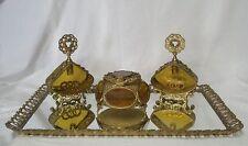 "Vintage Ormolu Gilt 25"" Vanity Tray Casket Jewelry Box Perfume Set Roses Wreaths"
