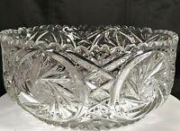 Vtg American Brilliant ABG Crystal Cut Glass Pinwheel Hobstar Bowl Sawtooth Edge
