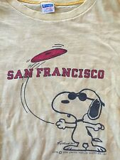 VINTAGE SNOOPY JOE COOL PEANUTS SAN FRANCISCO CHAMPION BLUE BAR LARGE USA MADE