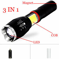 3 IN 1 LED Tactical Flashlight COB Work Flash Light Torch Lantern With Magnet