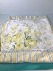 Laura Ashley Cotton Shower Curtain yellow roses yellow white green strip