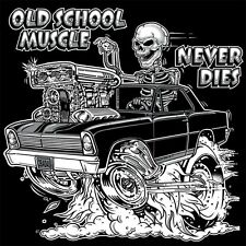 OLD SCHOOL 1966 1967 HOT ROD OUTLAW DRAG MUSCLE BLOWER SKULL T-SHIRT
