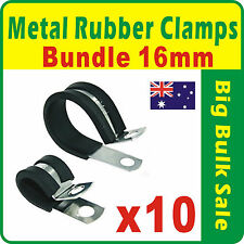 10 x Metal Rubber Clamps Bundle 16mm Rubber Lined P Clips Mild Steel Zinc Plated