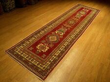 3 x 10 Handmade Fine Quality Veggie Dyes Hand Spun Wool Afghan Kazak Hallway Rug