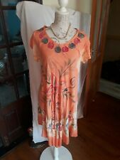 LADIES APRICOT OR PEACH FREESIZE INDIAN SUMMER DRESS 10 TO 14