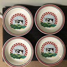 Century Stoneware Cow Fannie's Farm 4 Shallow Bowls Red Check Soup Salad Pasta