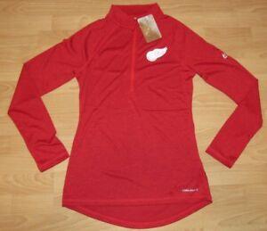 Majestic Detroit Red Wings Coolbase Fan Fashion 1/2 Zip Tech Jacket Women's L